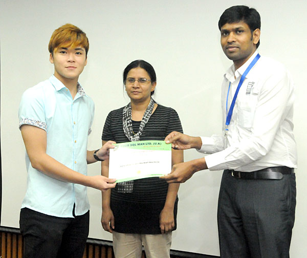 Participation certificate issued to Student by Dr.Subramani Paramasivam